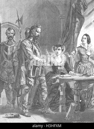 ROYALTY Abdication of Mary Queen Scots 1855. Illustrated London News - Stock Photo