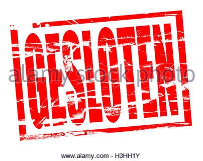Rode stempel effect - gesloten - closed in Dutch - Stock Photo