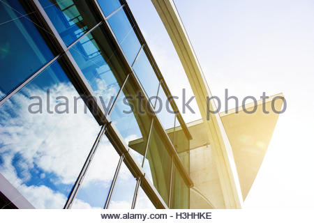 Exterior view glass facade, futuristic background, abstract architecture, bright glass building abstract geometric - Stock Photo