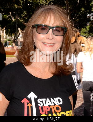 Marg Helgenberger attends Press Conference For 'Stand Up To Cancer Day' at Los Angeles City Hall, South Steps on - Stock Photo