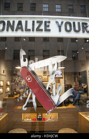 Swiss Army Knife Display In Shop Window Uk Stock Photo