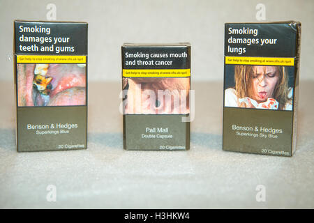 Some of the first UK standardised (plain) packs of cigarettes to appear in shops - Stock Photo