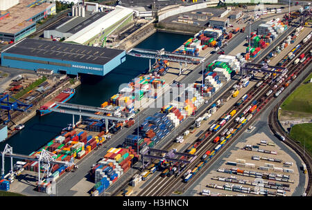 Aerial view, Duisport, the largest inland port in Europe, Port of Duisburg company, Rhine, Duisburg, Ruhr area, - Stock Photo