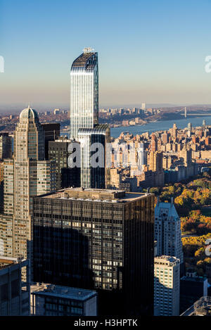 Aerial autumn view of Midtown and Upper West Side skyscrapers with Central Park and the Hudson River. Manhattan, - Stock Photo
