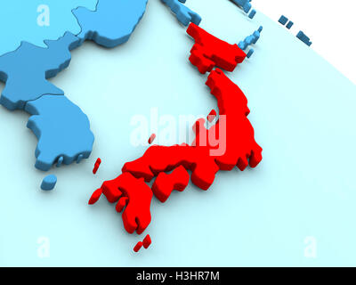 Japan D Map With National Color Stock Photo Royalty Free Image - Japan map 3d