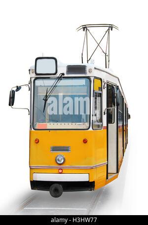 Orange tram in Budapest, Hungary - Stock Photo