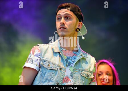 BARCELONA - MAY 23: Critika & Saik (rap band) at Primavera Pop Festival by Los 40 Principales. - Stock Photo
