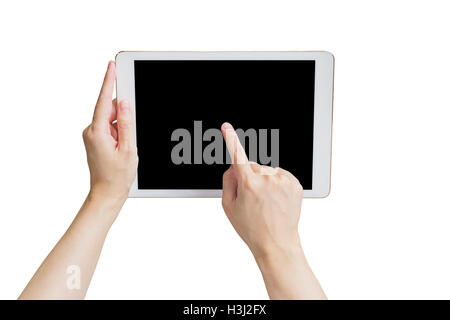 Close up hand woman holding tablet and touchscreen on isolated white with clipping path. - Stock Photo