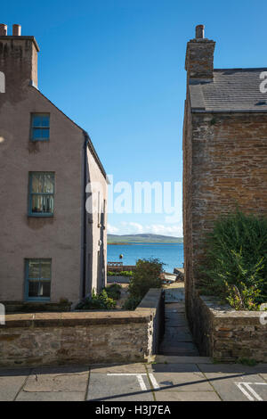 The main street of the port of Stromness on Mainland Orkney, Scotland, UK - Stock Photo