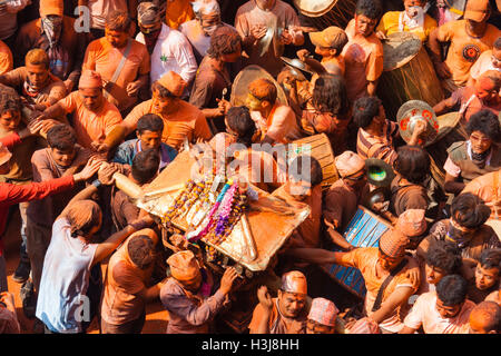 Sindoor Balkumari Jatra, a festival is celebrated in Thimi as part of Bisket Jatra (Nepali New Year) observed by - Stock Photo