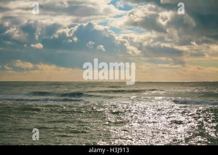 Seascape in a cloudy day of winter. - Stock Photo