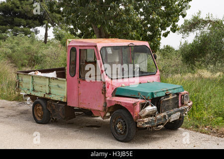 An old Greek Van has seen better days, Kefalonia, Greece. - Stock Photo