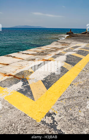 Pessada Ferry Port, Cephalonia, with Zakinthos in the distance. - Stock Photo