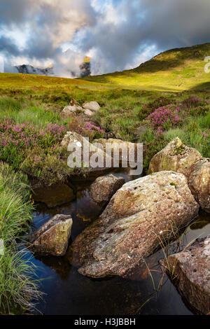 Nant Gwryd flows around boulders from Llyn Cwmffynnon leading into Dyffryn Mymbyr. - Stock Photo