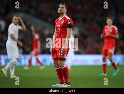 Wales' Sam Vokes looks dejected during the FIFA 2018 World Cup qualifying, group D match at the Cardiff City Stadium, - Stock Photo