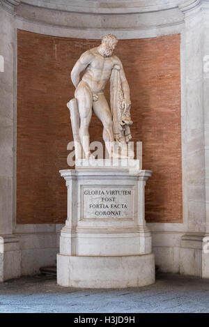 Copy of the Farnese Hercules statue a the entrance hall to The Bourbon Kings of Naples Royal Palace of Caserta, - Stock Photo