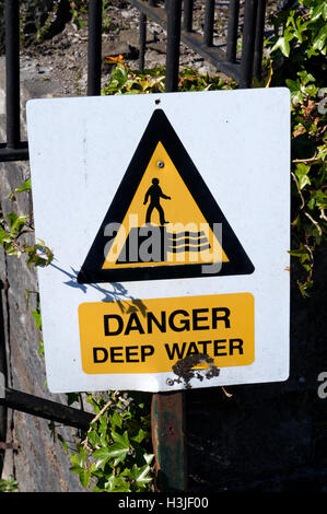 Danger deep water warning sign. - Stock Photo