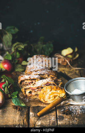 Apple strudel cake cut in pieces with fresh red apples, sugar powder and spices on rustic wooden table, dark plywood - Stock Photo