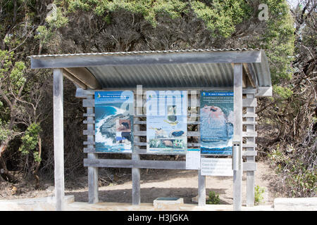 Notice information board at Remarkable rocks, Kangaroo island,South australia - Stock Photo