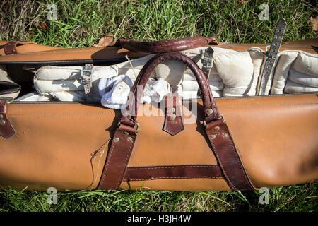 Cricket bag,village cricket,england, grounds, golf, cricket, tree, club, nobody, park, green, lawn, course, grass, - Stock Photo