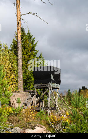 Sunlit hunting tower in a forest with fall colors - Stock Photo