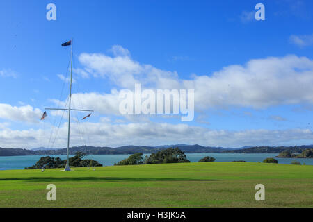 Waitangi Treaty Grounds near Paihia in New Zealand is the site of the signing of the first agreement between Britain - Stock Photo