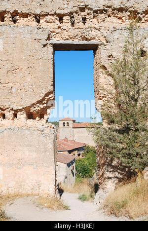 View of the village from the ruins of the castle. Calatañazor, Soria province, Castilla Leon, Spain. - Stock Photo