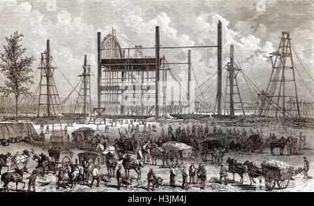 Construction site of the International Exposition of 1867, Paris, France, 1866 - Stock Photo