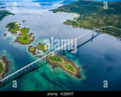Tjeldsundbrua bridge connecting the mainland with the islands in Norway - Stock Photo