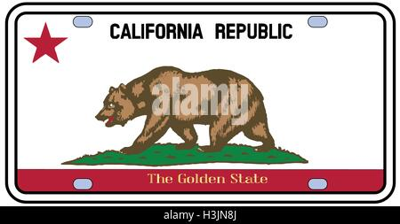 california license plate in the colors of the state flag with the