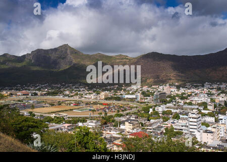 View over Port Louis the capital of Mauritius - Stock Photo