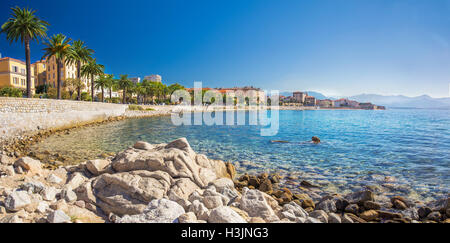 Ajaccio old city center coastal cityscape with palm trees and typical old houses, Corsica, France, Europe. - Stock Photo