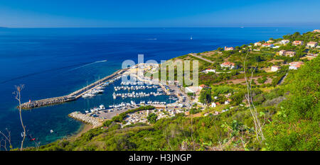 Harbour with yachts in Cargese town on the road D81, Corsica, France - Stock Photo