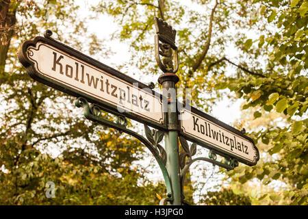 Kollwitzplatz (Kollwitz Square) sign in Berlin's Prenzlauer Berg neighborhood - Stock Photo