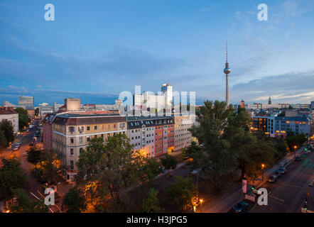 BERLIN - October 2, 2016: Berlin's Alexanderplatz and Fernsehturm (TV Tower) on October 2, 2016. - Stock Photo
