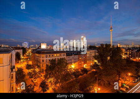 BERLIN - October 2, 2016: Berlin's Alexanderplatz and Fernsehturm (TV Tower) on October 2, 2016. - Stock Photo