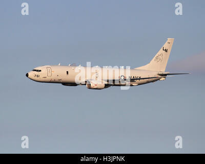 Advanced technology in modern warfare. Boeing P-8A Poseidon maritime patrol aircraft of the United States Navy in - Stock Photo