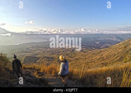 Bali Indonesia hiking big active volcano Batur Gunung 6 - Stock Photo