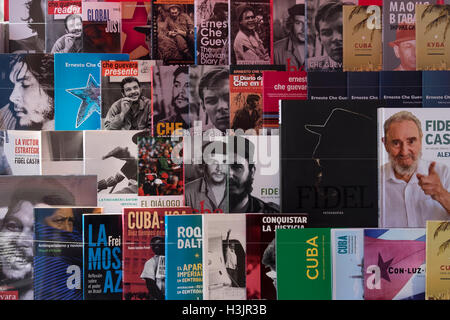Selection of Cuban Books on a book rack, near Matanzas, Cuba - Stock Photo