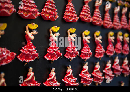 Flamenco dancer magnets on display in a shop in the old quarter of Valencia - Stock Photo