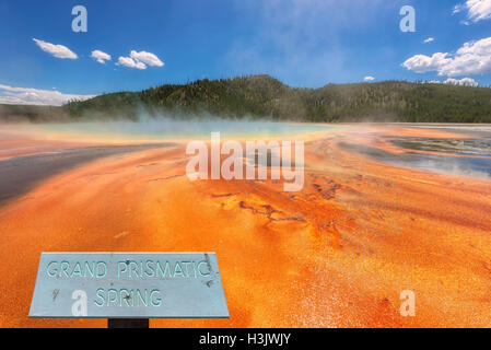 View of the Grand Prismatic Spring in Yellowstone National Park - Stock Photo