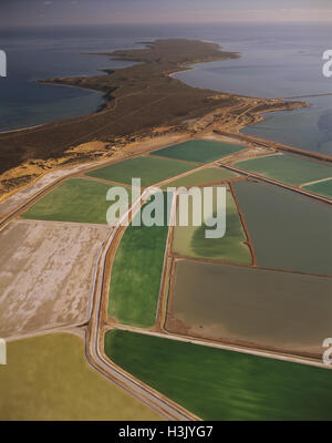Aerial photograph of the crystallisation ponds of Useless Loop Saltworks. - Stock Photo