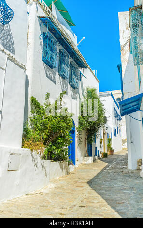 The narrow streets and tiny parks of Sidi Bou Said are almost empty in midday, tourists prefer relax on beach, Tunisia. - Stock Photo