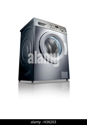 A shot of a washing machine with reflection on a white background. - Stock Photo