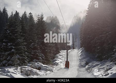 Skiing slopes from the lift - Stock Photo
