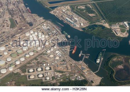 Aerial view of an oil refinery and tank farm near Houston, Texas. - Stock Photo