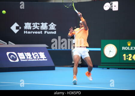 Beijing, Beijing, China. 9th Oct, 2016. Spanish professional tennis player Rafael Nadal and his compatriot Pablo - Stock Photo