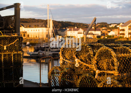 Lobster pots on the side of a harbour as the setting sun glows after a bright Autumn day. Credit:  Ian Jones/Alamy - Stock Photo
