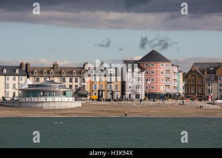 A view of Aberystwyth seafront properties and bandstand as seen from Cardigan Bay - Stock Photo