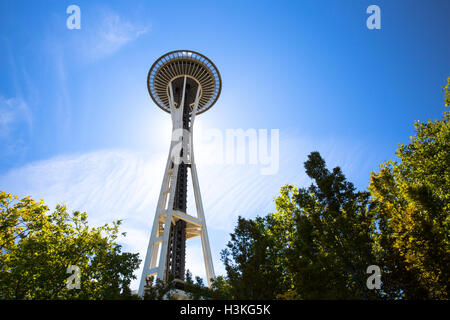View of the Space Needle against a blue sky - Seattle, WA - USA - Stock Photo